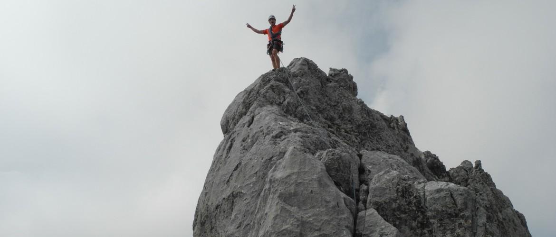 Gipfelsieg nach Bezwingung der Watzmann Ostwand mit der Alpinschule Rock 'n Roll