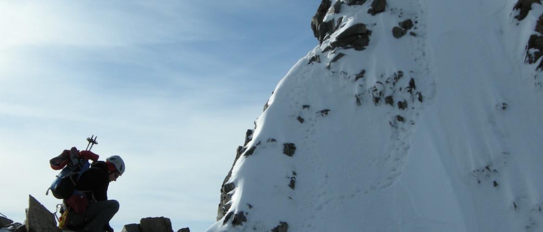 Steilstufe am Biancograt auf dem Piz Bernina