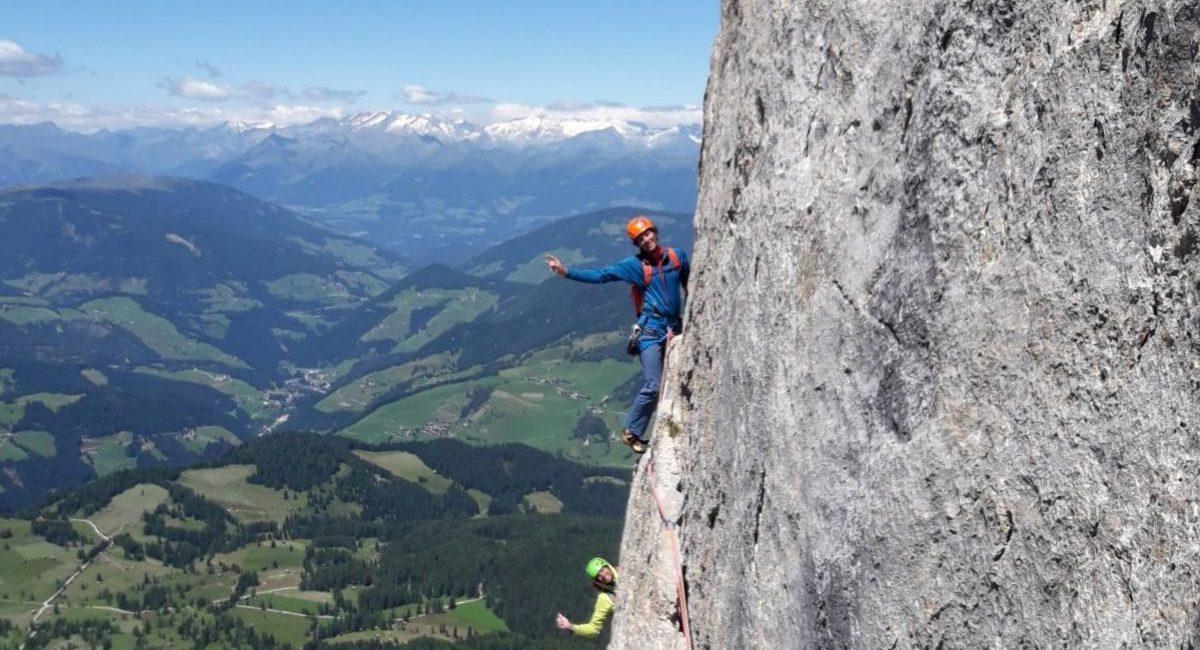 Heiligkreuzkofel Dolomiten_Große Mauer_Schuppenquergang